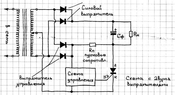 Ниже приводится описание нескольких конструкций низковольтных выпрямителей с тиристорным регулятором.