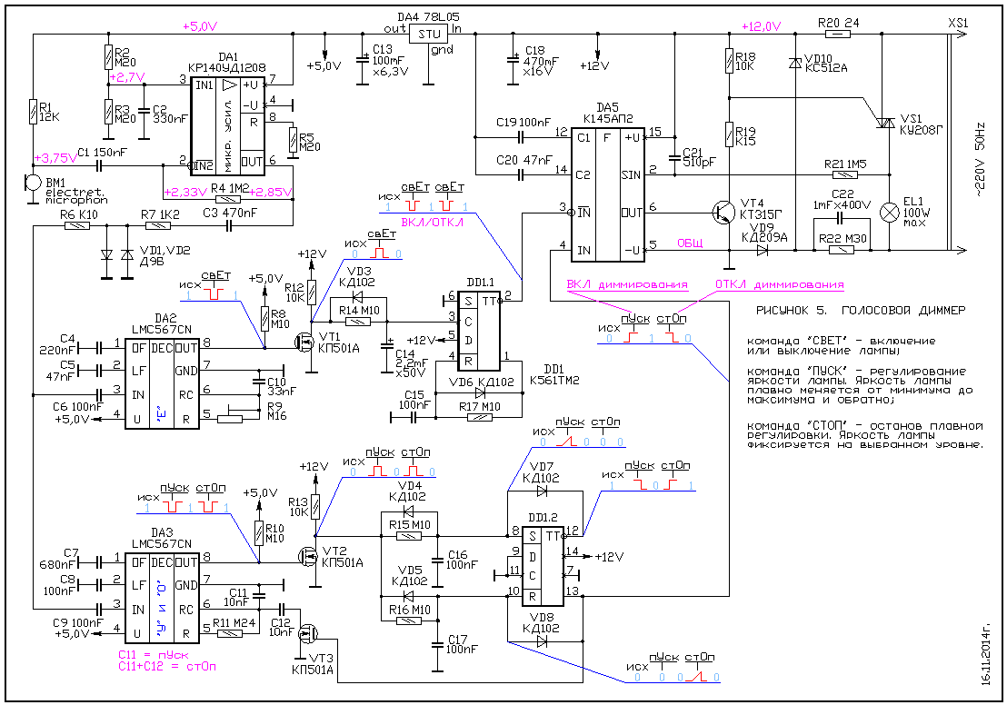 схема плавного включения и выключения диодов